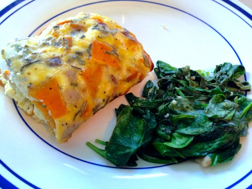 Yummy Brunch - Sweet potato egg bake and sautéed spinach.